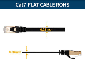 VANDESAIL CAT 7 Ethernet Cable, Gigabit Cable 15 FT RJ45 High Speed STP LAN Network Cord Gold Plated Lead (5m/15ft Black-2pack)