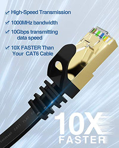 Ethernet Cable, VANDESAIL 2 Pack CAT 7 High Speed Internet LAN Cable (Black + White, 10ft)