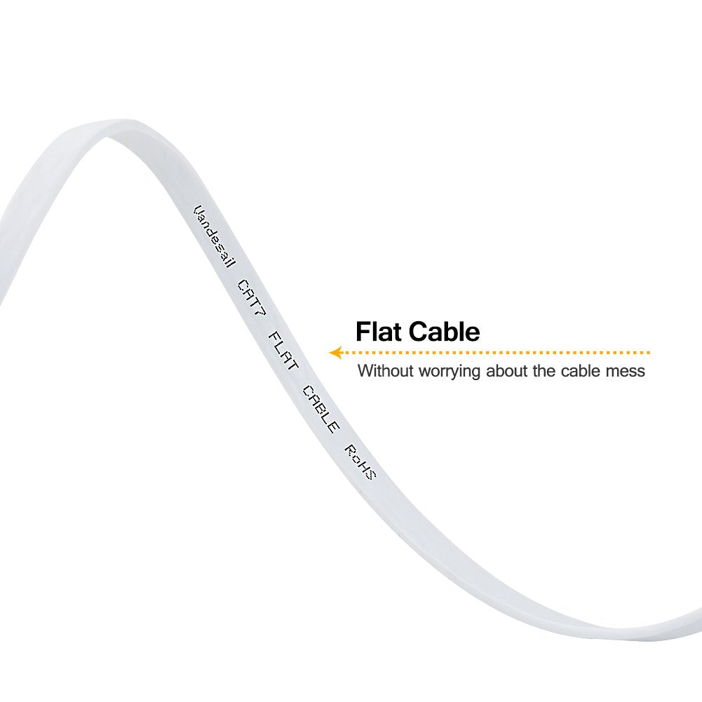 CAT7 3FT RJ45 Network Flat Ethernet Patch Cable Cord Xbox One PS4 Modem WHITE