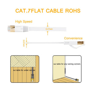 Ethernet Cable, Vandesail CAT7 LAN Network Cable(2m/ 6.5ft, White, Half Gold Plug-1pack)