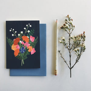 Navy Bouquet Card