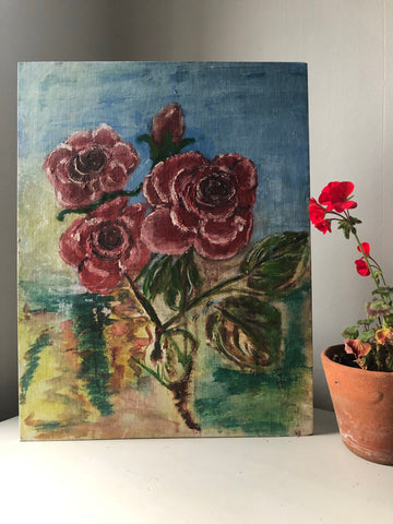 Vintage Roses oil painting on board