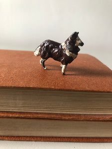 Vintage Lead Dark Brown Collie Dog