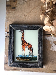 Antique Reverse Glass Painting, Giraffe