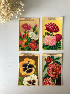 Set of Four Original French Flower Seed Labels, Poppy
