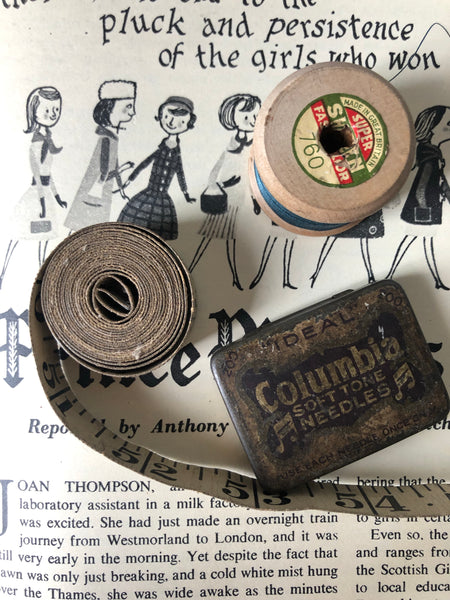 Vintage Sewing Set, Tin, Tape measure, and wooden cotton reel