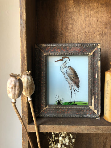 Antique Reverse Glass Painting, Heron