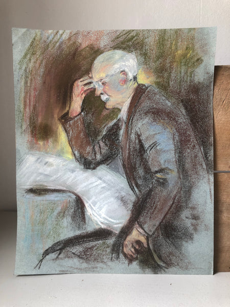Vintage Portrait of Man Reading Newspaper, Pastel study