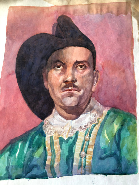 Original Watercolour Portrait, 'Man with Moustache'
