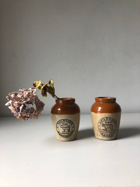 Pair of Vintage Dairy Cream Jars