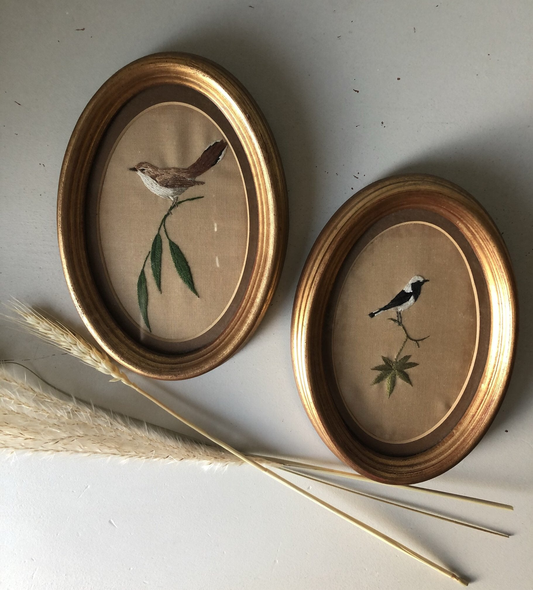 Pair of Framed Vintage Bird Embroidery