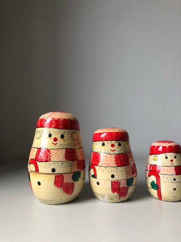 Set of Vintage Snowmen Nesting Dolls