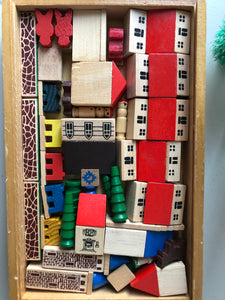 Full Vintage Wooden Village set in box