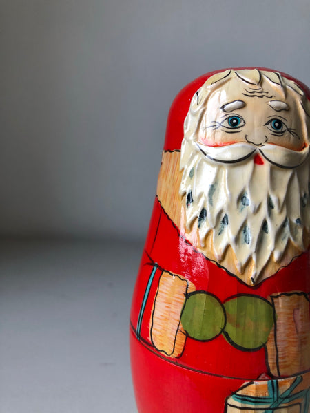 Set of Vintage Father Christmas Nesting Dolls