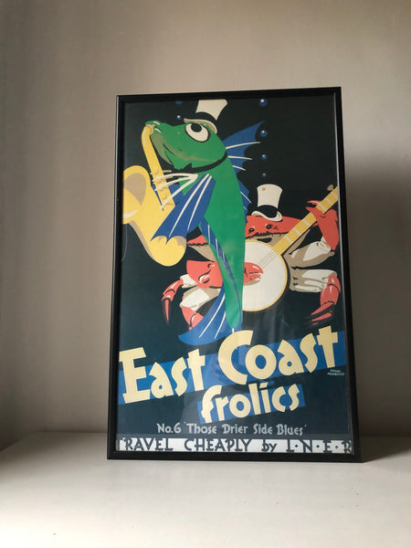 Vintage East Coast Framed Railway poster
