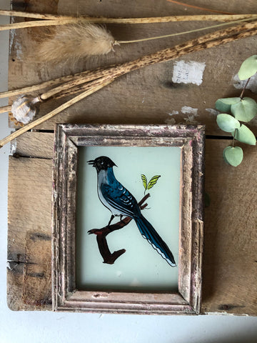 Antique Reverse Glass Painting, Bird