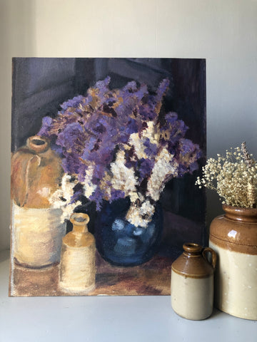 Vintage Oil on Board Still Life Painting ft Stoneware