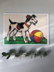Vintage Dog with Ball Card
