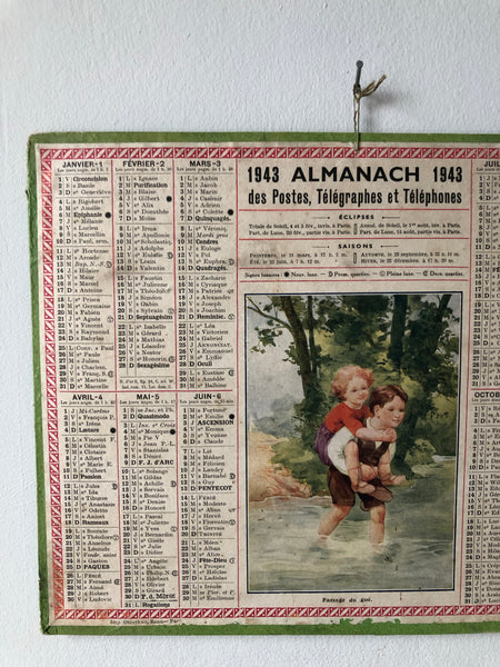 French 1940s Wall Calendar