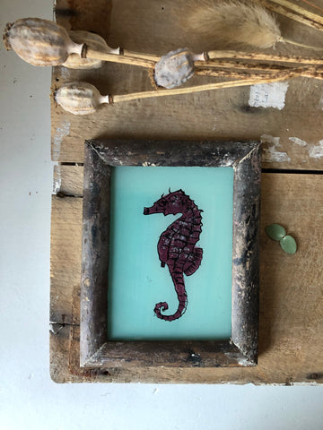 Antique Reverse Glass Painting, Seahorse