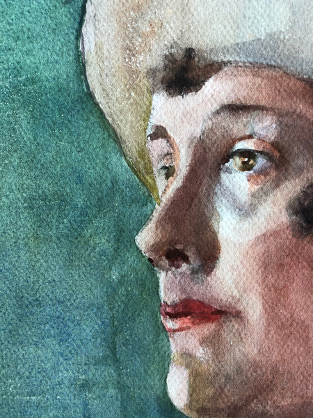 Original Watercolour Portrait, 'Lady in Hat'