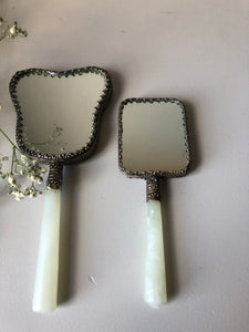 Pair of Decorative Jade handled Mirrors