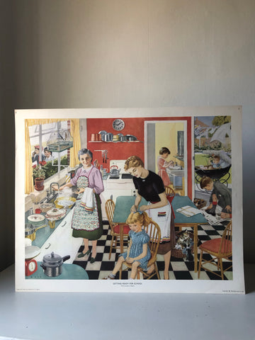 Original 1950s School Poster, 'Getting Ready for School'