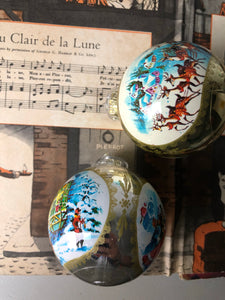 Pair of Retro Christmas Baubles, Sleigh