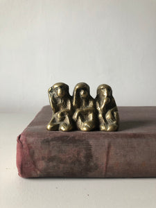 Large Vintage Brass Monkeys