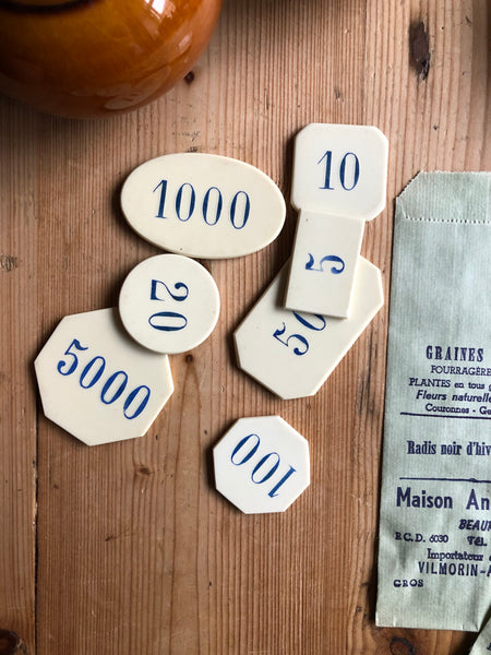 Set of Vintage Number Tokens