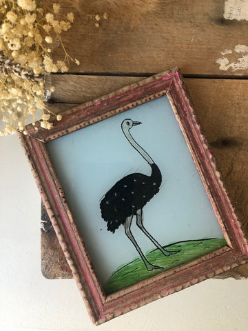 Antique Reverse Glass Painting, Ostrich