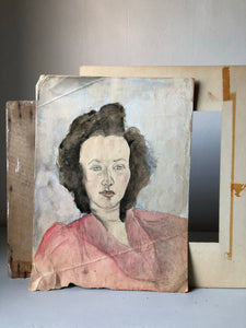 1930s Watercolour Portrait, Lady