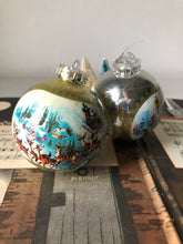 Load image into Gallery viewer, Pair of Retro Christmas Baubles, Sleigh