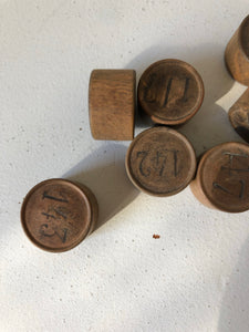 Vintage French Wooden Lotto Numbers