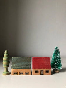 1930s German Wooden Christmas Village Set