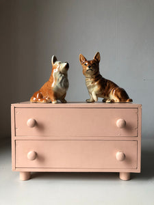 Set of Pink Vintage Miniature wooden drawers