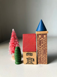 1950s German Wooden Christmas Village Set