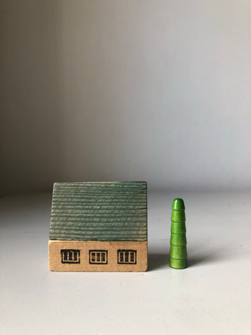 1950s Wooden House Set, Blue House with Tree