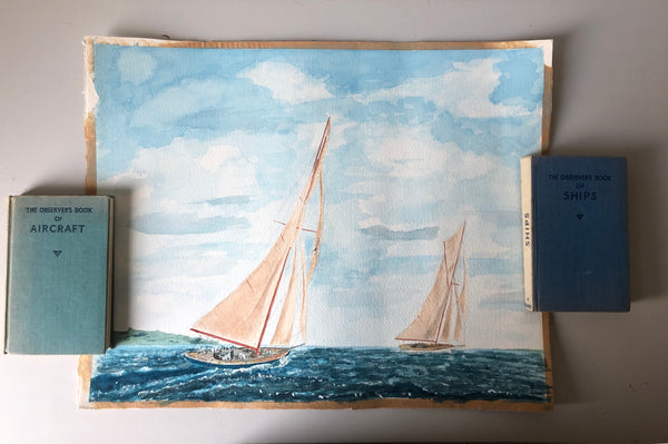 Vintage Sailing Boat Watercolour Painting