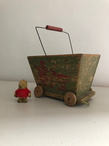 Vintage wooden toy cart