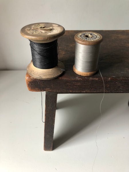 Pair of Rustic Wooden cotton reels