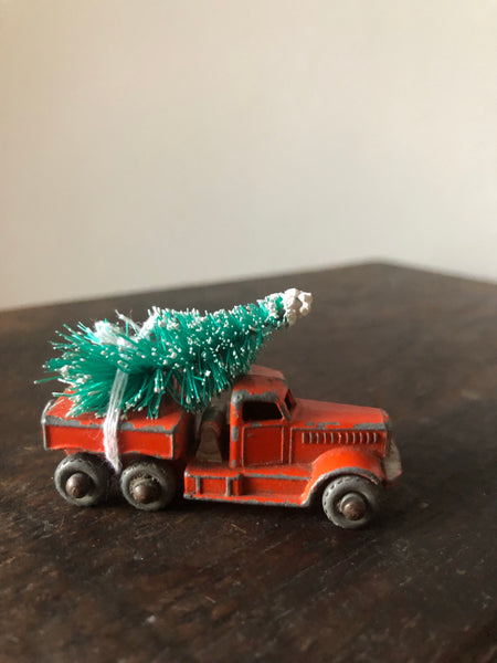 NEW - Vintage Driving Home For Christmas, Orange Truck