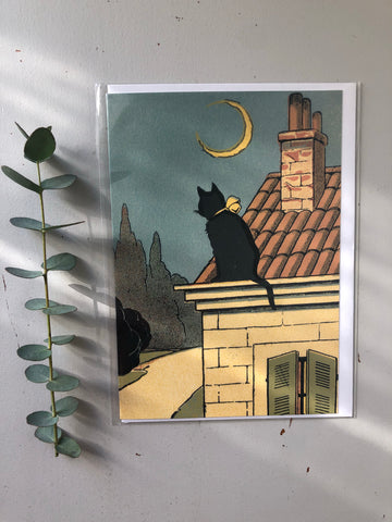 Cat and The Moon Card