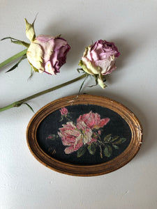 Miniature French Vintage Floral Painting