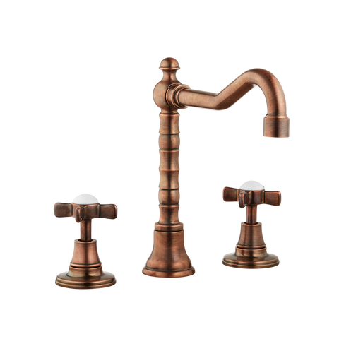 Three Hole Lever Taps English Spout - Cross Handle