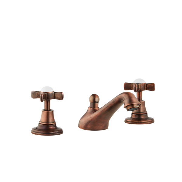 Three Hole Lever Taps Low Level Spout - Porcelain Lever