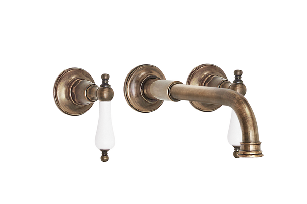 Wall Basin Three Hole Lever Taps with Basin Spout - Cross Handle Antique Copper / Cross Handle