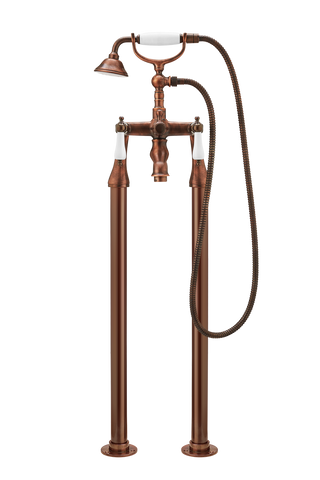 Bath Shower Mixer On Pipe Stands - Porcelain