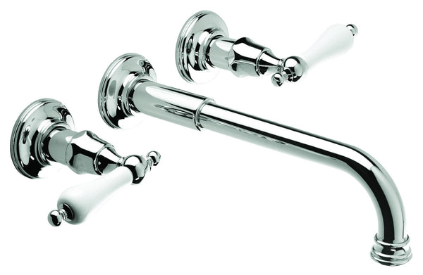 Wall Basin Three Hole Lever Taps with Basin Spout - Metal Lever