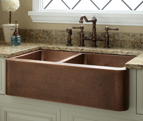 Hammered Copper Double Butler Sink